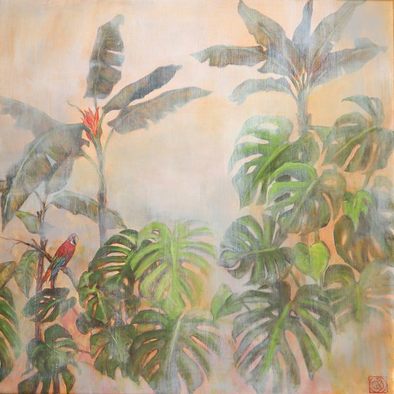Tropical Scenery with Parrot