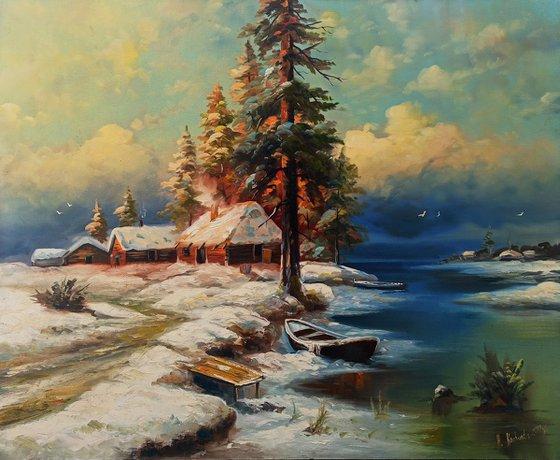 Fairytale winter  (90x110cm, oil painting)