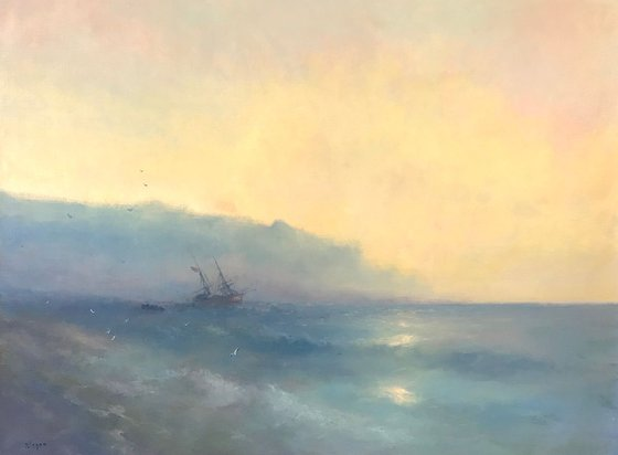 Sunset on Ocean, Seascape Original oil Painting, Handmade artwork, Museum Quality, Signed, One of a Kind