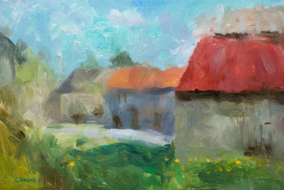 Impressionism Barns and Old Stone Buildings in French Countryside