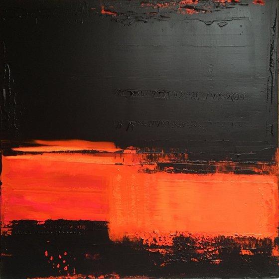 Black/Orange Abstract #215