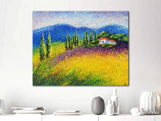 """Large Italy landscape painting Italy Toscana scenery Sunny day modern abstraction Tuscany Landscape - READY TO HANG - 27"""" x 35"""" / 70 x 90 cm."""