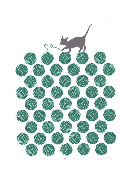 Cat in Teal Green - Unframed - FREE Worldwide Delivery