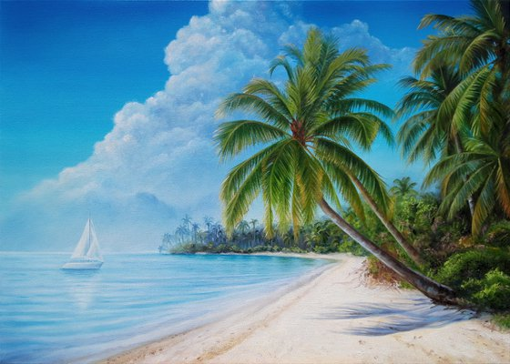 """""""On the way to a dream"""", oil seascape painting, tropical lanscape art"""
