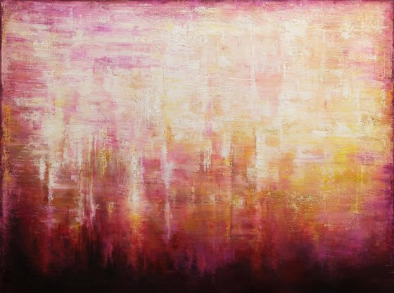 """Abstract Sunset Landscape VII, 110x81 cm - 43""""x32"""", Large original abstract painting, Ready to hang"""