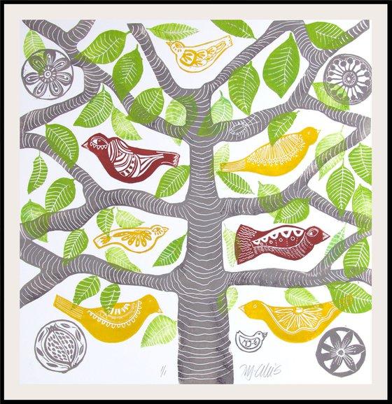 Birds in a tree, linocut mono print