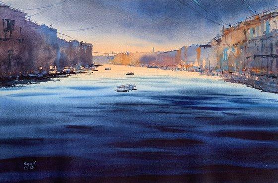 Blue sunset. St. Petersburg.