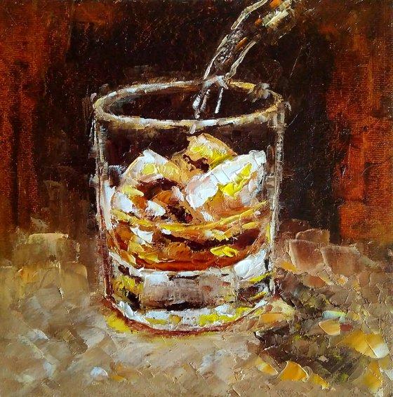 Whiskey, Bourbon Painting Original Art Whiskey Ice Wall Art Cocktail Artwork