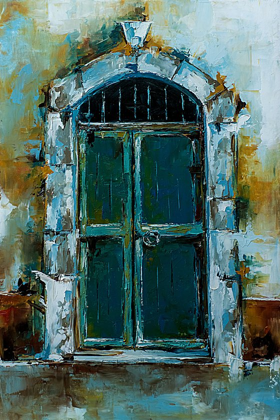 Old door. Original palette knife work