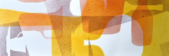 Abstract stillife Yellow to Red-2, canvas 47x16 inch