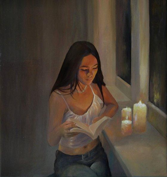 Without internet 53x57cm ,oil/canvas, impressionistic figure