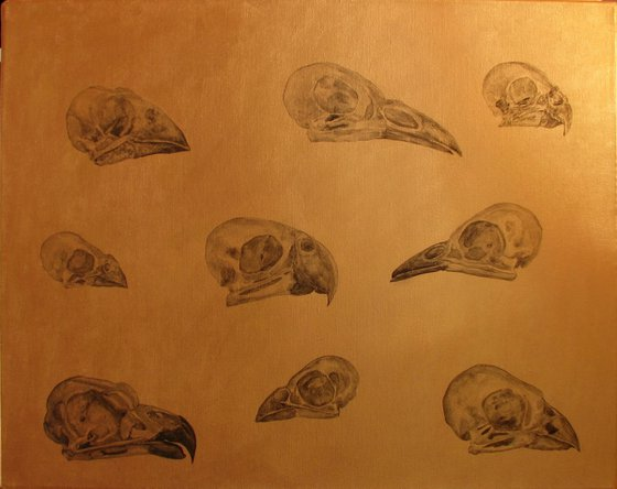 Bird skulls on a golden background