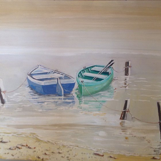 """2 boats tied to wooden stumps """"reflecting"""""""