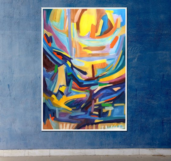 Le Soleil (The Sun) 43.3 H x29.1 W inches | Large &Colourful abstract |