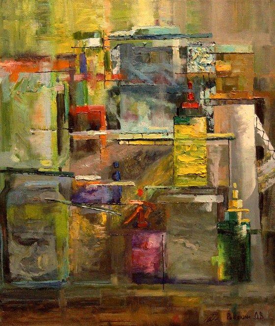 Glass still life. Avant-garde oil painting