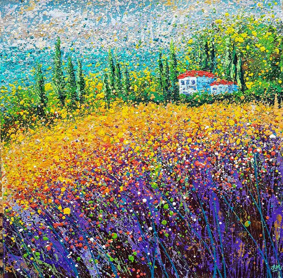 """Lavender and sea landscape Field of lavender flowers - READY TO HANG - 27 x 27"""" / 70 x 70 cm."""