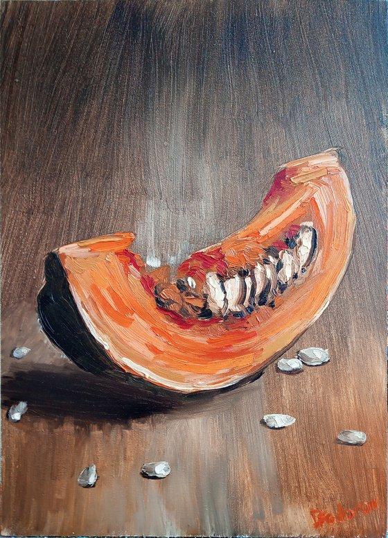 The slice of pumpkin. still life