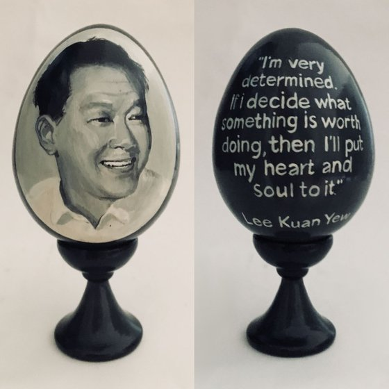 Mr.Lee Kuan Yew portrait and quote. Lacquered art painted on wooden egg (chicken size egg)