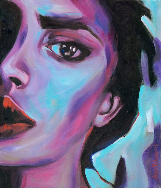 INTENT - Modern woman portrait art Expressionist colorful original painting on canvas