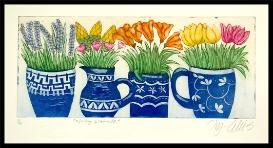 Spring Parade, aquatint etching