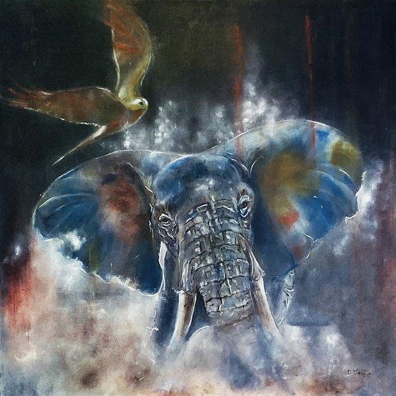 L'éléphant et l'oiseau