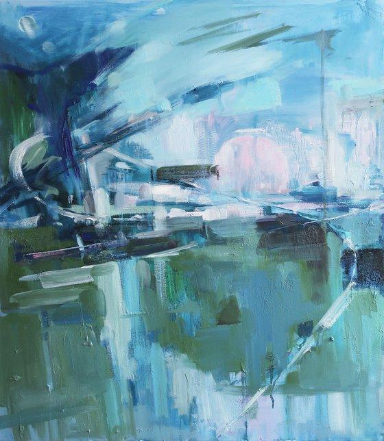 Oil painting Landscape Blue Bird Flying