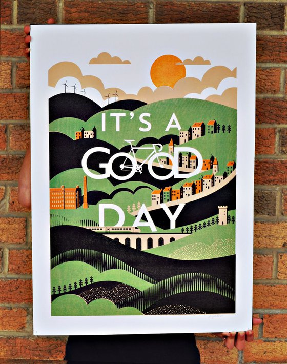 It's A Good Day Yorkshire Landscape Cycling Art