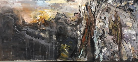 """""""Thorny path to the sun"""" Canvas / Oil;  size 72x182cm;  shipping is free"""