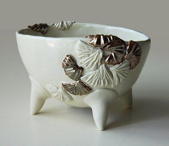 Ceramic | White Dish with Gold