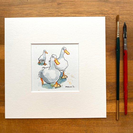 ' Park Run' - mini painting of three white ducks