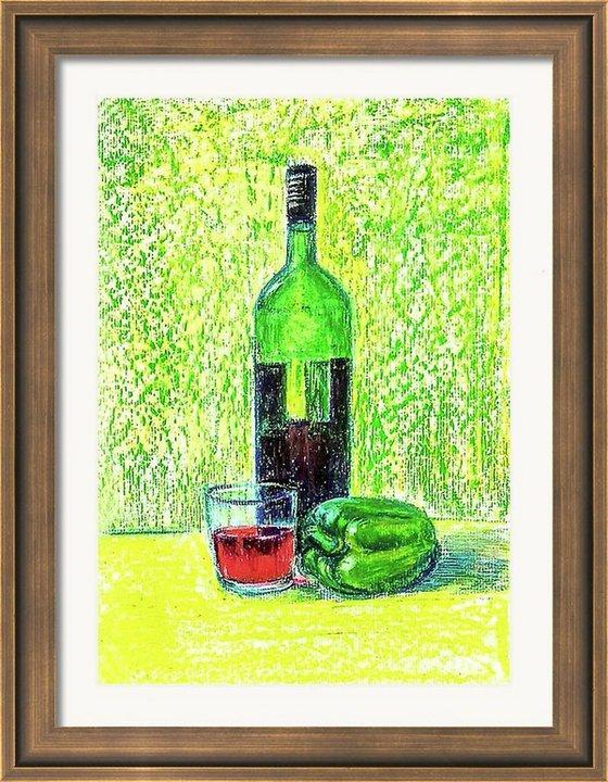"Wine Bottle Still Life oil pastel painting- 11.75""x 8.3"""