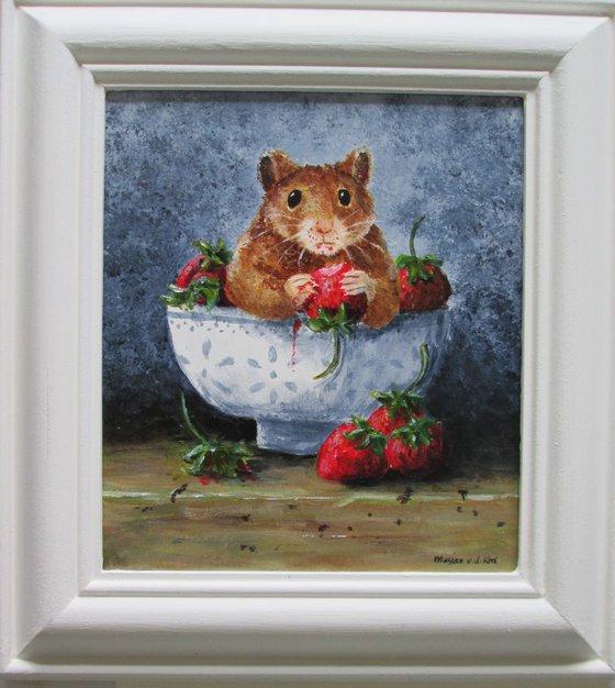 Strawberry Thief, hamster still-life