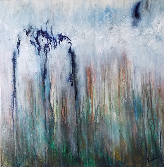 Caught Out in the Rain No. 6, 24in x 24in abstract original by Redin Winter