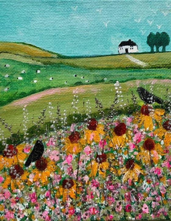 Taking a Break, small acrylic landscape canvas board painting