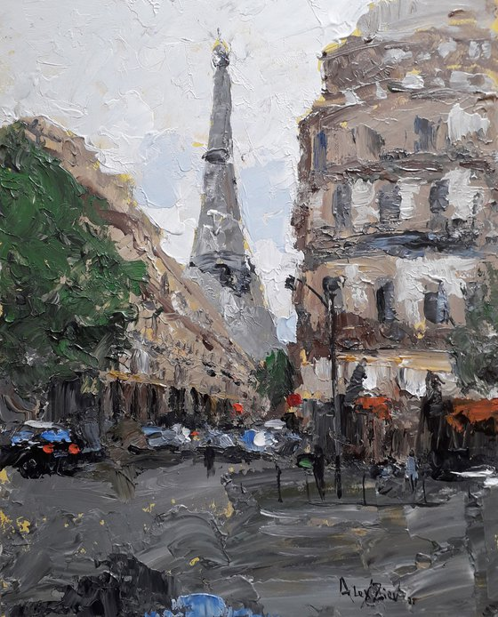 Cityscap Paris Painting with a palette knife City street