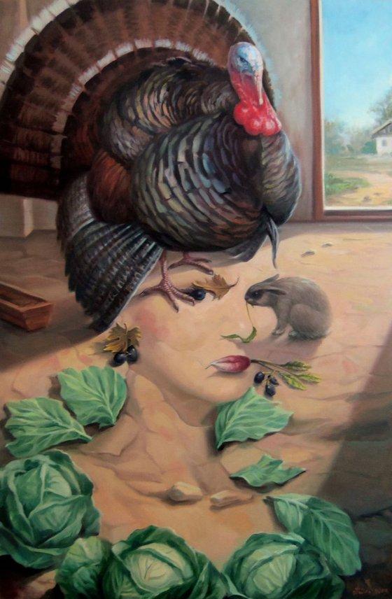 The proud-stomachedless 60x90cm, oil painting, surrealistic artwork
