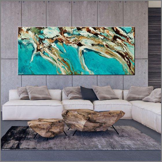 Teal Coast 240cm x 100cm Teal Oxide Textured Abstract Art