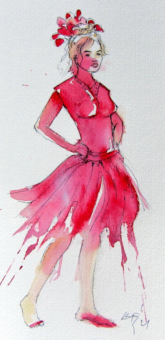 Girl in red dress /32,5 x 16 cm/