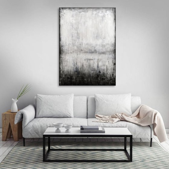 """73x100 cm - 29""""x39"""", Minimalist Landscape VII, Large original abstract painting, Ready to hang"""