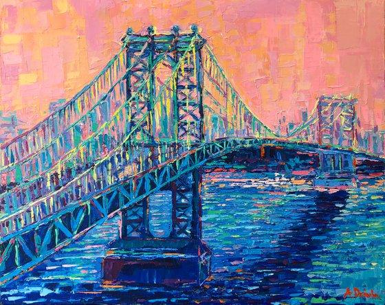 Manhattan Bridge at Sunset, Original Palette Knife New York City skyline