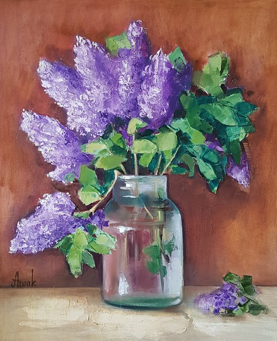 Lilac (50x60cm, oil painting, ready to hang)