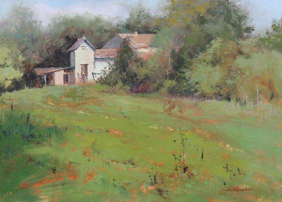 French Farmhouse - plein air oil painting