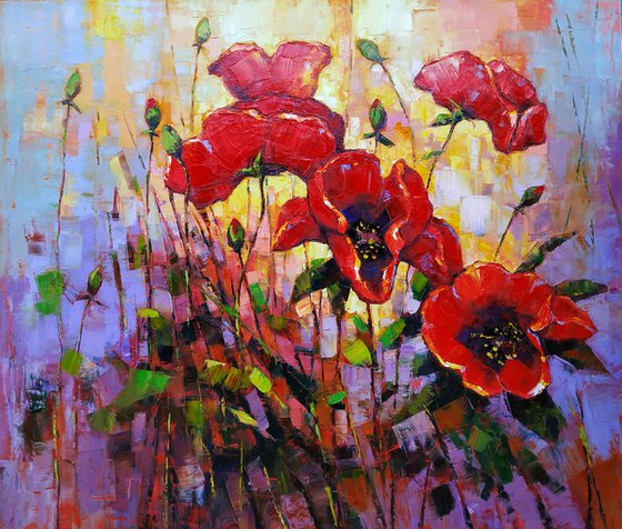 Red poppies (60x70cm, oil painting, palette knife)