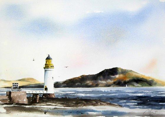 Rubha nan Gall lighthouse. Original Watercolour Painting.