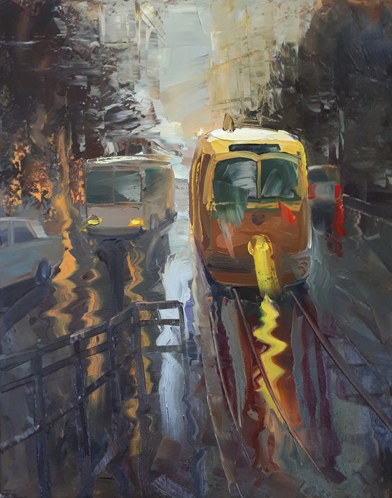 Rainy cityscape (40x50cm, oil painting, ready to hang)