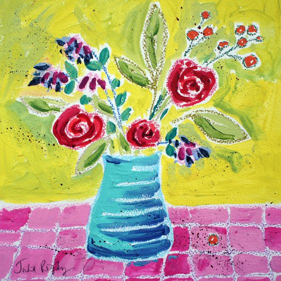 Red Roses, Blue Vase