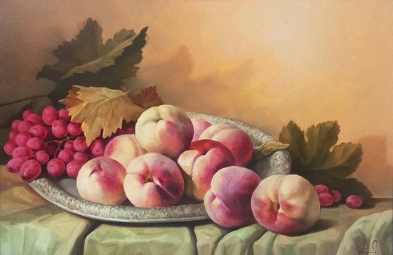 Still life with peaches   (40x60cm, oil painting, ready to hang)