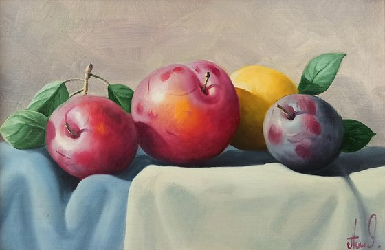 Still life with plums and lemon (20x30cm, oil painting, ready to hang)