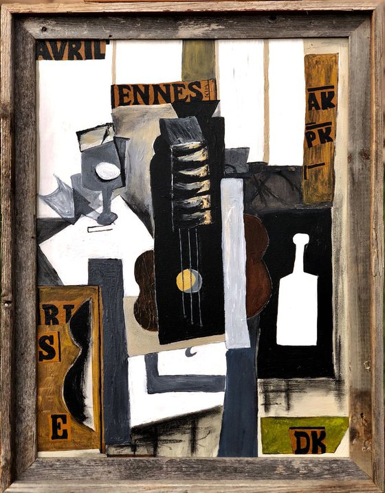 Cubism: Bottle, Guitar and Glass, Variation on Picasso