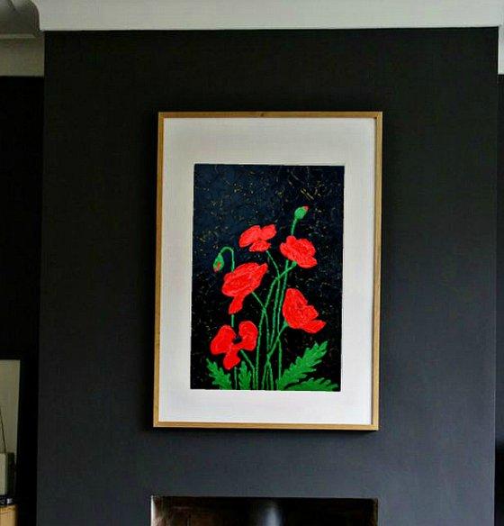 Modern impasto Poppies /Maquis - 30 X 20 cm